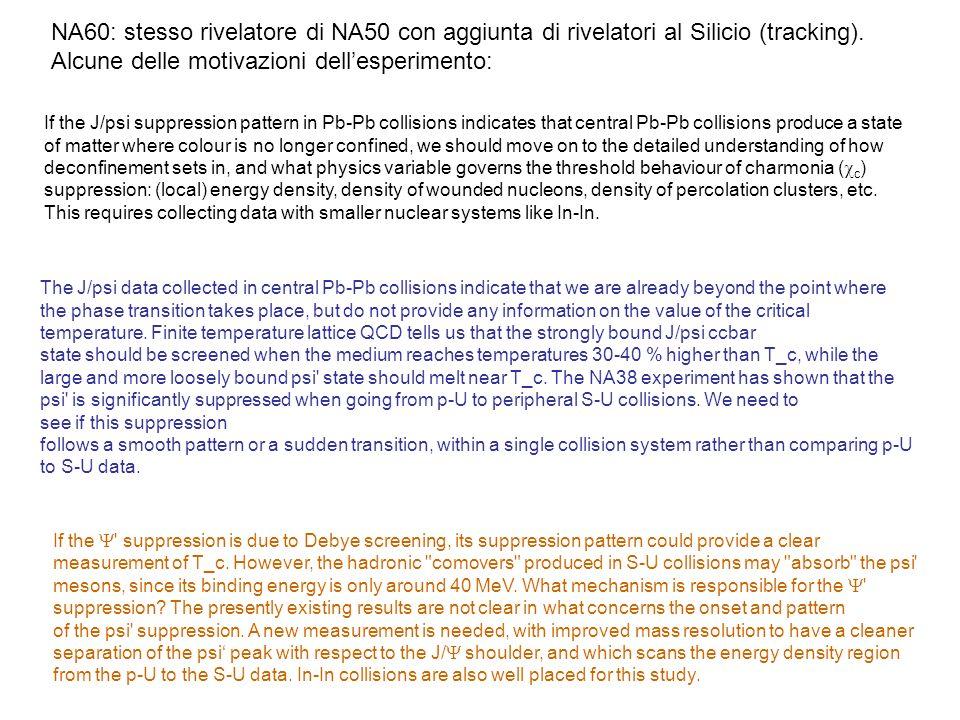 NA60: stesso rivelatore di NA50 con aggiunta di rivelatori al Silicio (tracking).