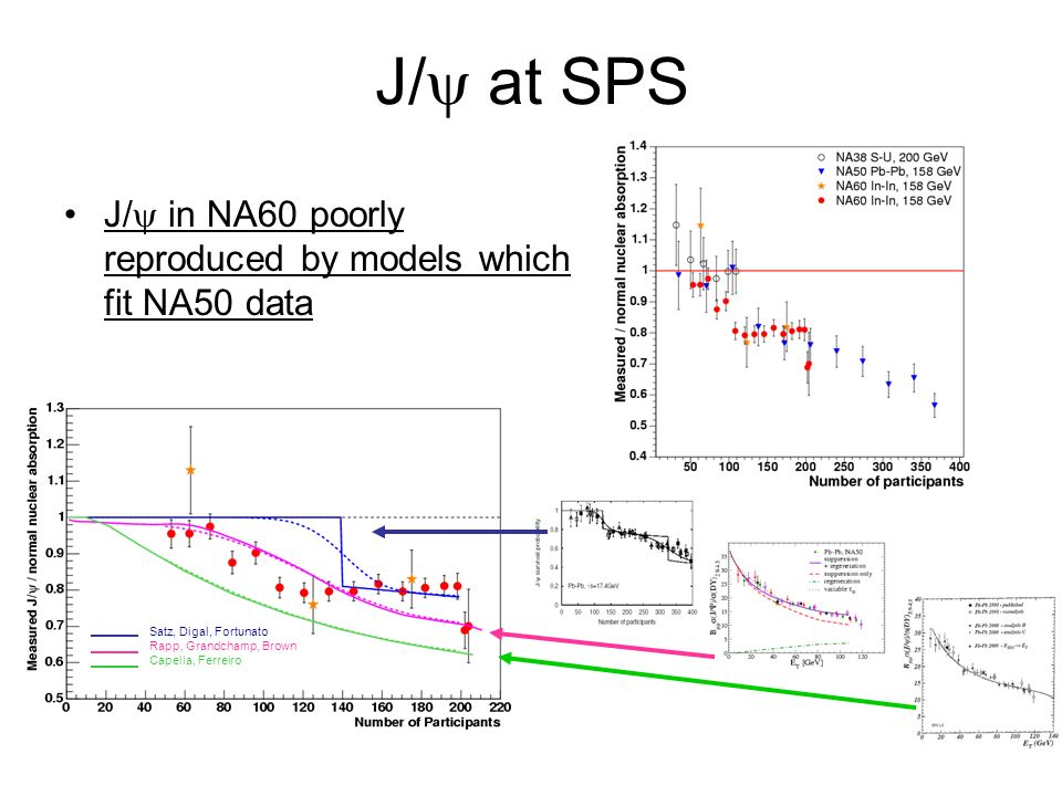 J/ at SPS J/ in NA60 poorly reproduced by models which fit NA50 data Satz, Digal, Fortunato Rapp, Grandchamp, Brown Capella, Ferreiro