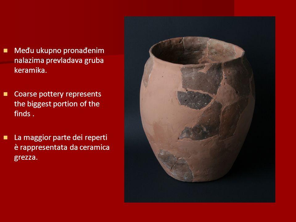Među ukupno pronađenim nalazima prevladava gruba keramika.