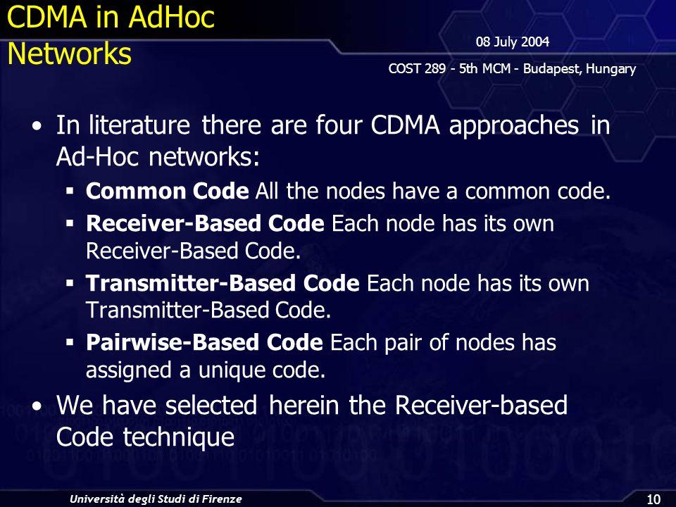 Università degli Studi di Firenze 08 July 2004 COST 289 - 5th MCM - Budapest, Hungary 10 CDMA in AdHoc Networks In literature there are four CDMA approaches in Ad-Hoc networks: Common Code All the nodes have a common code.