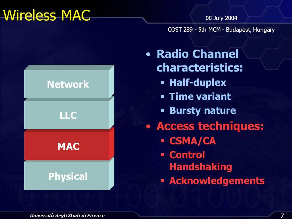 Università degli Studi di Firenze 08 July 2004 COST 289 - 5th MCM - Budapest, Hungary 7 Wireless MAC Radio Channel characteristics: Half-duplex Time variant Bursty nature Access techniques: CSMA/CA Control Handshaking Acknowledgements Physical MAC LLC Network