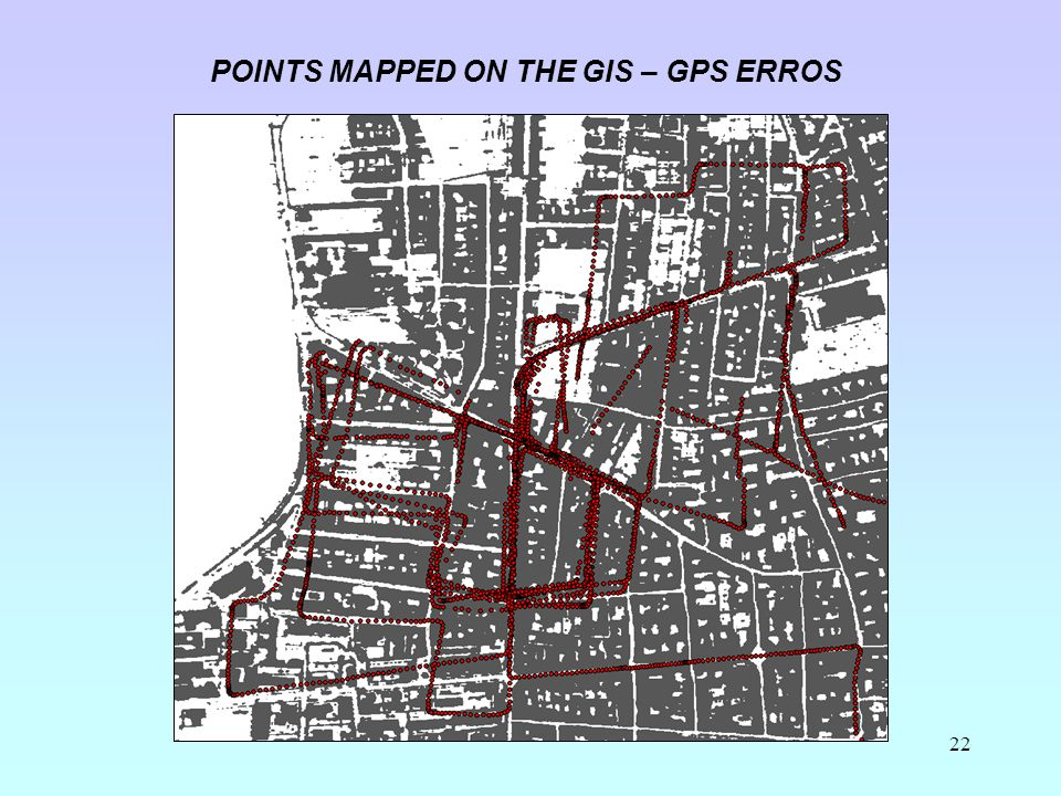 22 POINTS MAPPED ON THE GIS – GPS ERROS