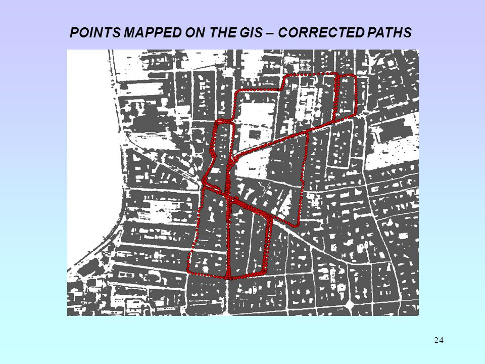 24 POINTS MAPPED ON THE GIS – CORRECTED PATHS