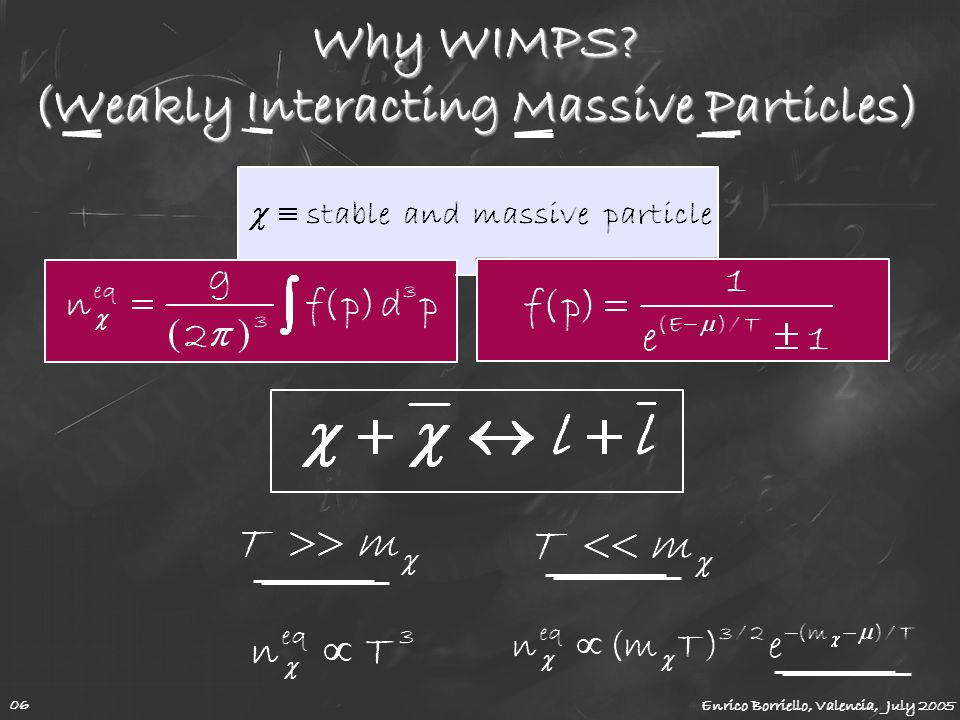 Why WIMPS? (Weakly Interacting Massive Particles) Enrico Borriello, Valencia, July 2005 06
