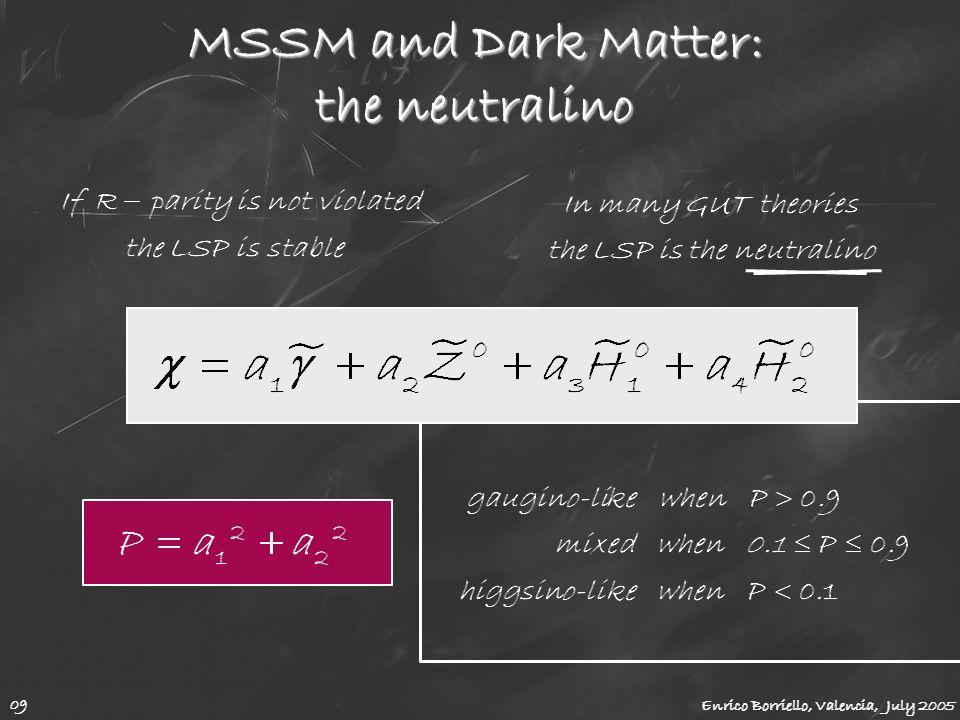MSSM and Dark Matter: the neutralino Enrico Borriello, Valencia, July 2005 09