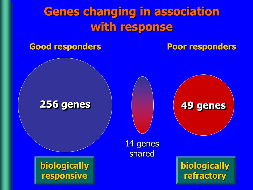 Genes changing in association with response Good responders Poor responders 14 genes shared biologically responsive biologically refractory 256 genes 49 genes