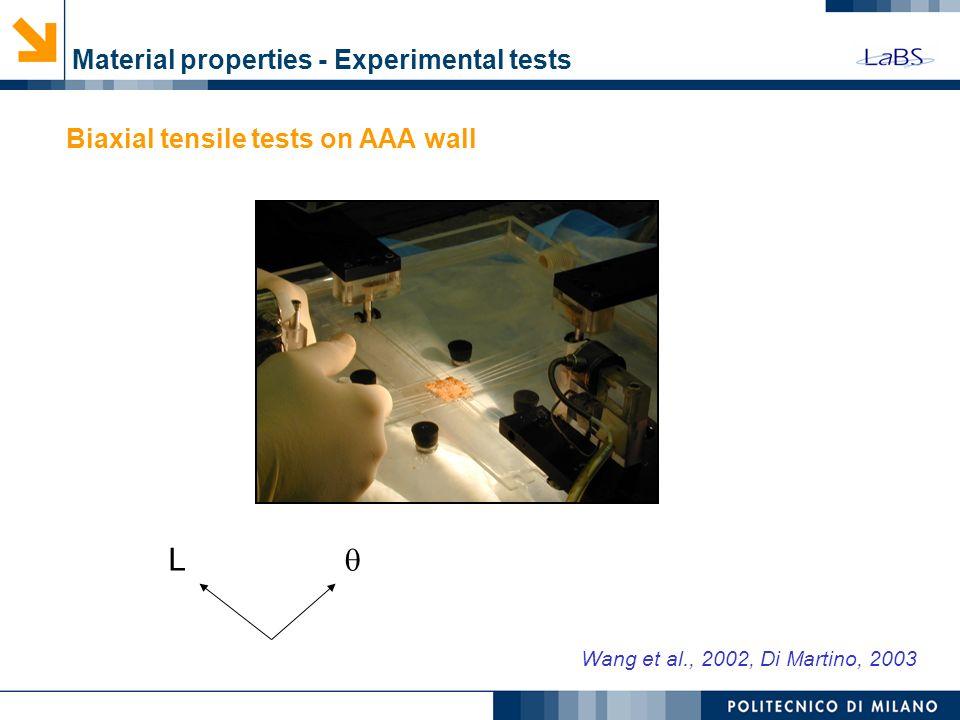 Wang et al., 2002, Di Martino, 2003 Material properties - Experimental tests L Biaxial tensile tests on AAA wall