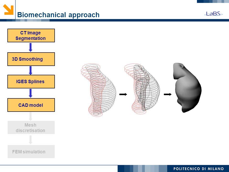 Biomechanical approach (IDL) CT Image Segmentation 3D Smoothing Mesh discretisation FEM simulation IGES Splines CAD model