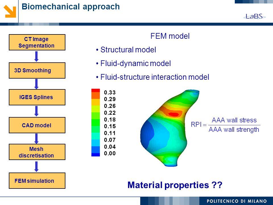 Biomechanical approach (IDL) CT Image Segmentation 3D SmoothingIGES Splines CAD model Mesh discretisation FEM simulation Material properties ?? FEM mo