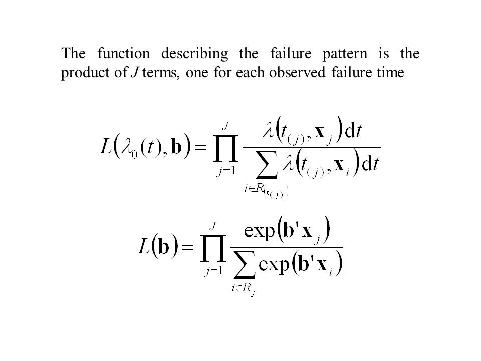 The function describing the failure pattern is the product of J terms, one for each observed failure time