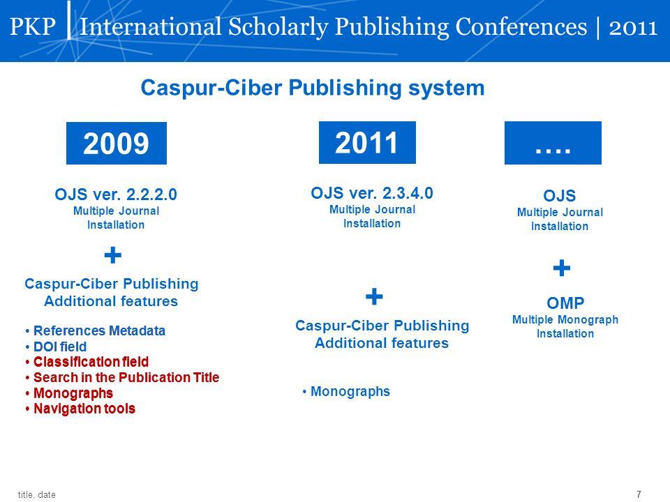 7 title, date 2009 2011 Caspur-Ciber Publishing system OJS ver. 2.2.2.0 Multiple Journal Installation + Caspur-Ciber Publishing Additional features Re