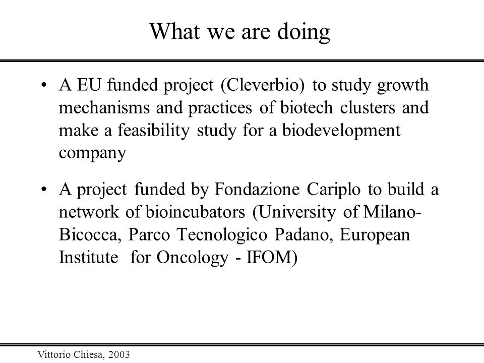 Vittorio Chiesa, 2003 What we are doing A EU funded project (Cleverbio) to study growth mechanisms and practices of biotech clusters and make a feasib