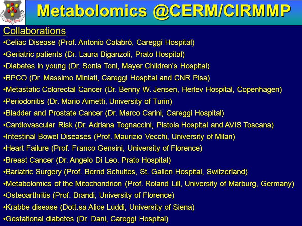 Metabolomics @CERM/CIRMMP Collaborations Celiac Disease (Prof. Antonio Calabrò, Careggi Hospital) Geriatric patients (Dr. Laura Biganzoli, Prato Hospi