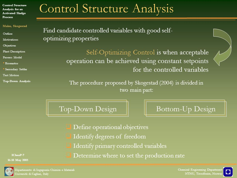 ICheaP-7 16-18 May 2005 Control Structure Analysis for an Activated Sludge Process Mulas, Skogestad Dipartimento di Ingegneria Chimica e Materiali Uni