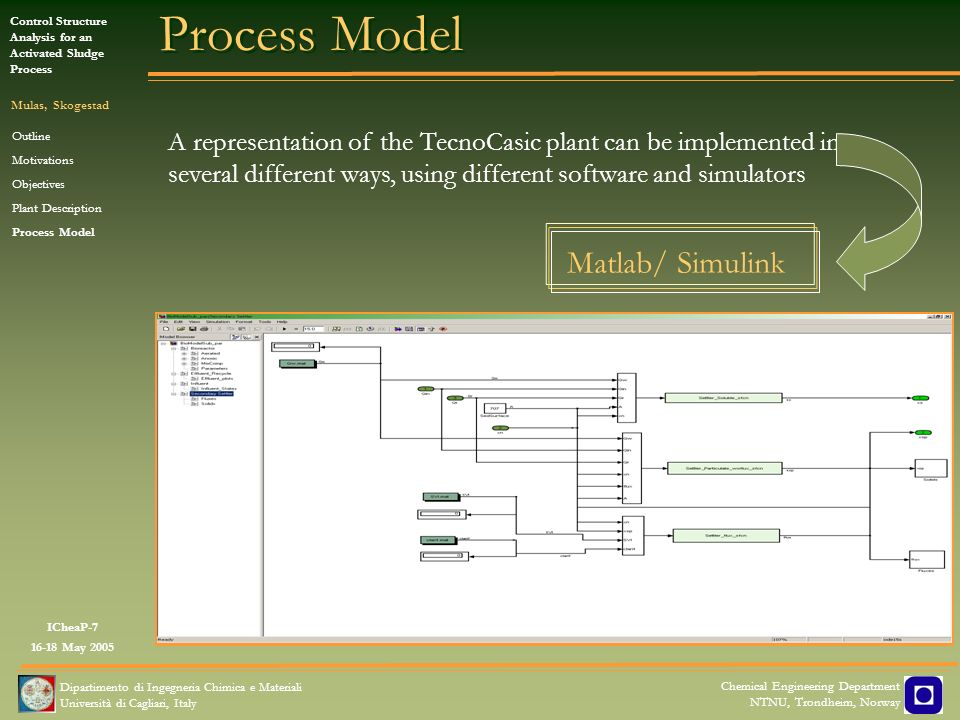 ICheaP-7 16-18 May 2005 Control Structure Analysis for an Activated Sludge Process Mulas, Skogestad Dipartimento di Ingegneria Chimica e Materiali Università di Cagliari, Italy Chemical Engineering Department NTNU, Trondheim, Norway Test Motion Outline Motivations Objectives Plant Description Process Model Bioreactor Secondary Settler Test Motion On-Line measurements: Flow rates DO concentration in the basin Temperatures Off-Line measurements: Chemical Oxygen Demand (COD) Nitrogen Sludge Volume Index (SVI) TecnoCasic Plant Data Simulink Exp Data available every two or three days