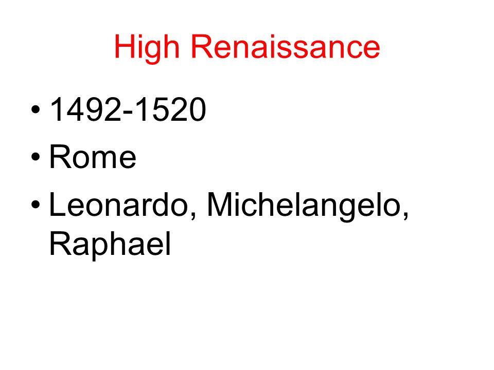 High Renaissance 1492-1520 Rome Leonardo, Michelangelo, Raphael