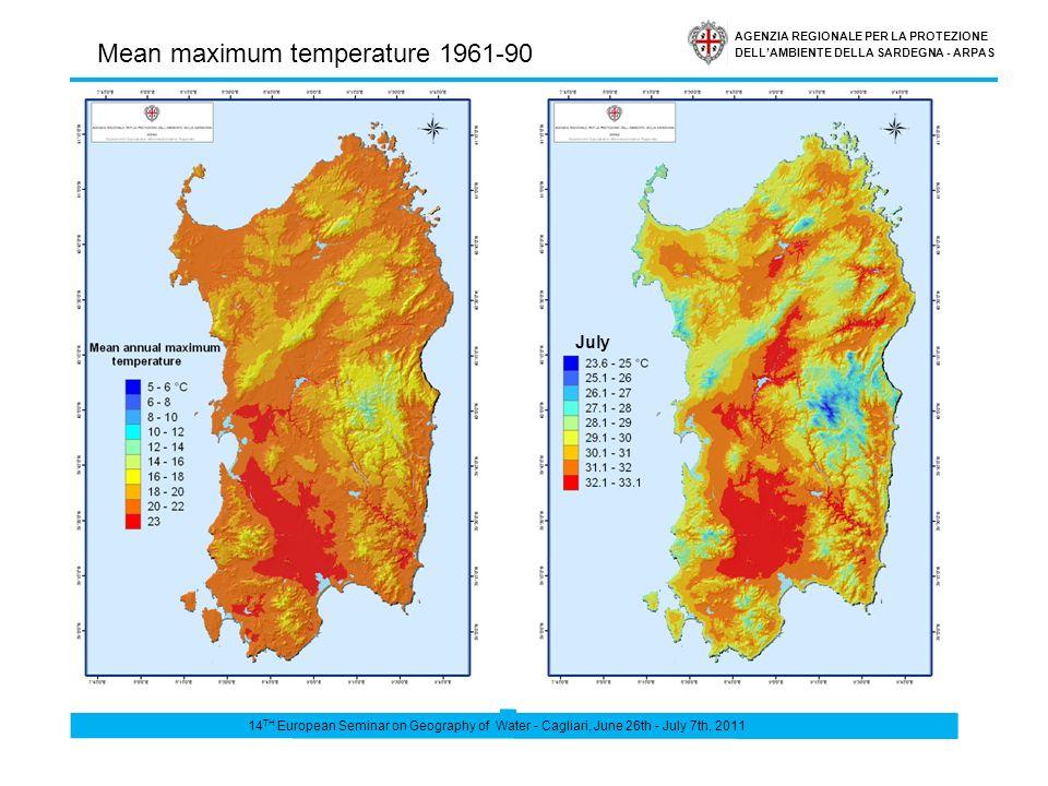 AGENZIA REGIONALE PER LA PROTEZIONE DELLAMBIENTE DELLA SARDEGNA - ARPAS July Mean maximum temperature 1961-90 14 TH European Seminar on Geography of Water - Cagliari, June 26th - July 7th, 2011