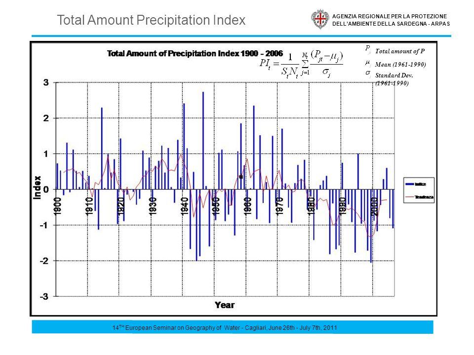 AGENZIA REGIONALE PER LA PROTEZIONE DELLAMBIENTE DELLA SARDEGNA - ARPAS Total Amount Precipitation Index Total amount of P Mean (1961-1990) Standard D
