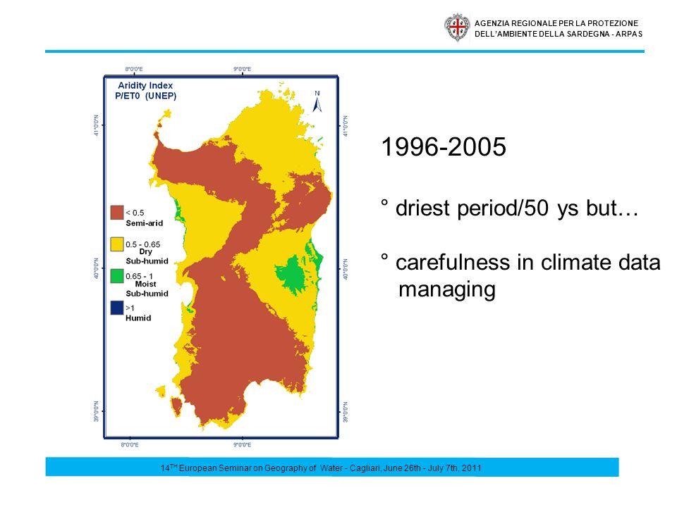 AGENZIA REGIONALE PER LA PROTEZIONE DELLAMBIENTE DELLA SARDEGNA - ARPAS 14 TH European Seminar on Geography of Water - Cagliari, June 26th - July 7th, 2011 1996-2005 ° driest period/50 ys but… ° carefulness in climate data managing