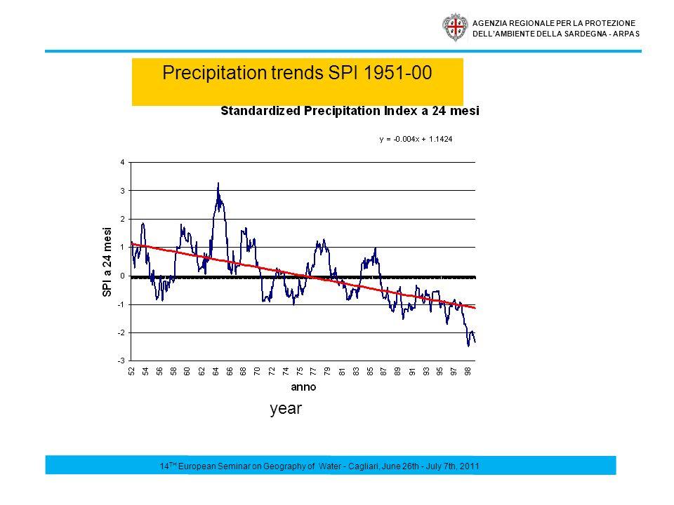 AGENZIA REGIONALE PER LA PROTEZIONE DELLAMBIENTE DELLA SARDEGNA - ARPAS Precipitation trends SPI 1951-00 year 14 TH European Seminar on Geography of Water - Cagliari, June 26th - July 7th, 2011