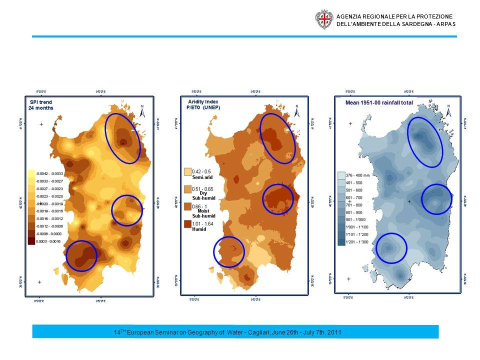 AGENZIA REGIONALE PER LA PROTEZIONE DELLAMBIENTE DELLA SARDEGNA - ARPAS Mean 1951-00 rainfall total 14 TH European Seminar on Geography of Water - Cag