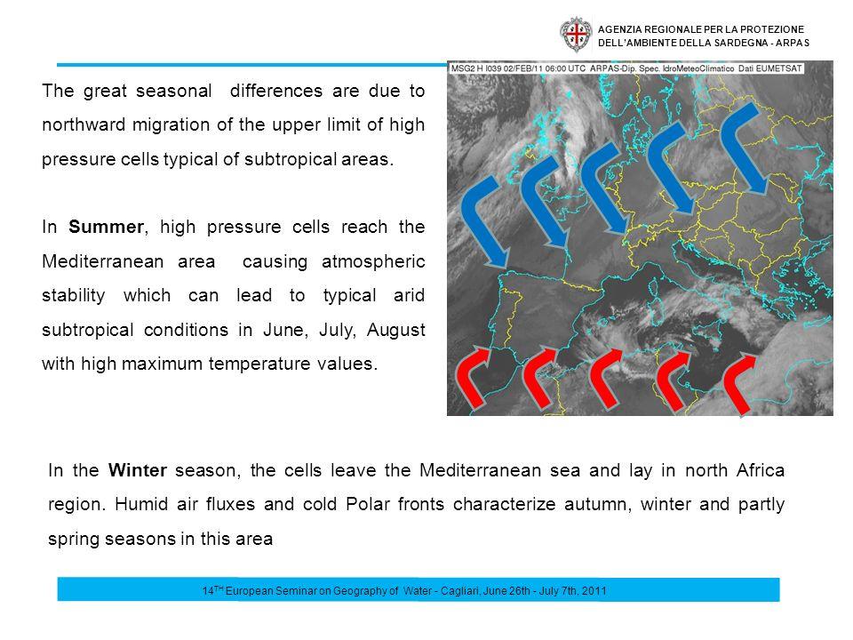 AGENZIA REGIONALE PER LA PROTEZIONE DELLAMBIENTE DELLA SARDEGNA - ARPAS Mean annual rainfall 1961-90 …where we have 50 days/year but rain>than average 14 TH European Seminar on Geography of Water - Cagliari, June 26th - July 7th, 2011