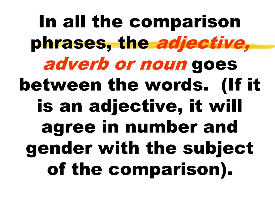 In all the comparison phrases, the adjective, adverb or noun goes between the words. (If it is an adjective, it will agree in number and gender with t