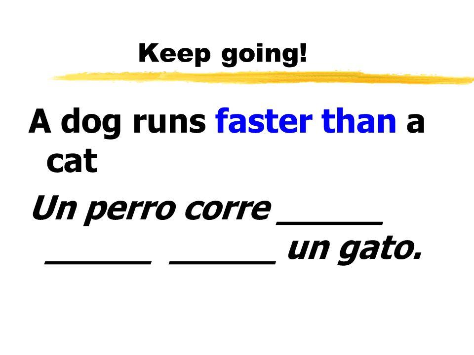 Keep going! A dog runs faster than a cat Un perro corre _____ _____ _____ un gato.
