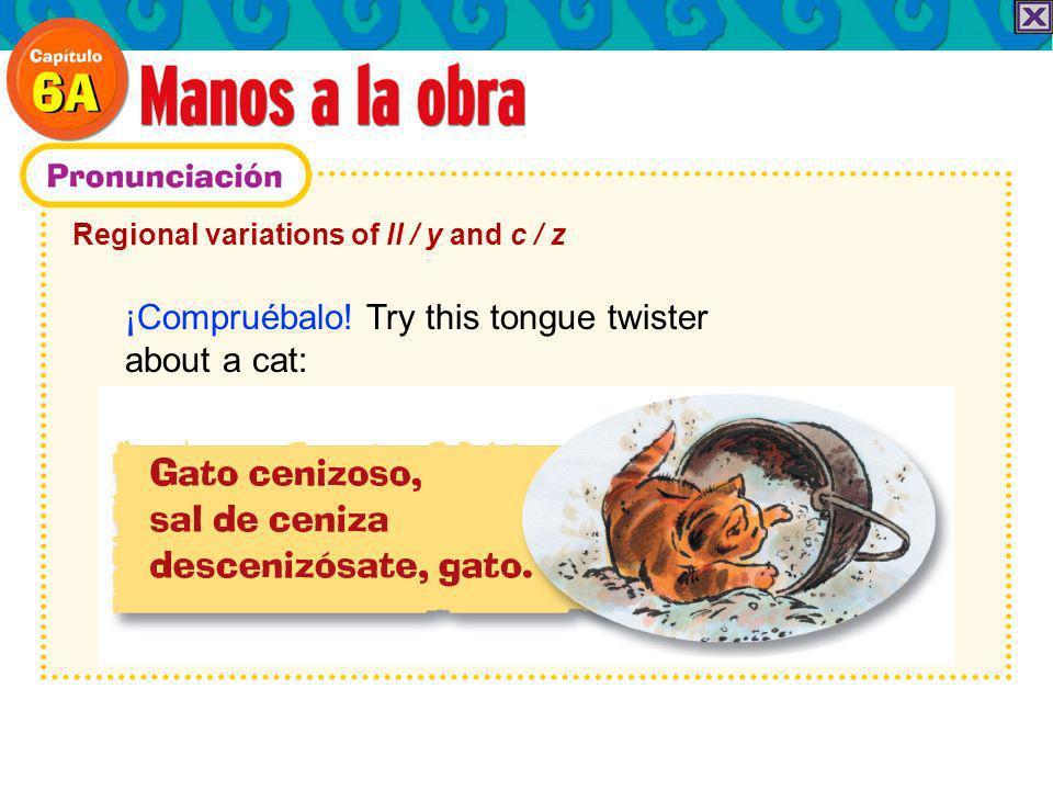 Regional variations of ll / y and c / z ¡Compruébalo! Try this tongue twister about a cat: