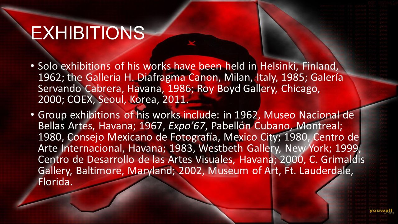 EXHIBITIONS Solo exhibitions of his works have been held in Helsinki, Finland, 1962; the Galleria H. Diafragma Canon, Milan, Italy, 1985; Galería Serv