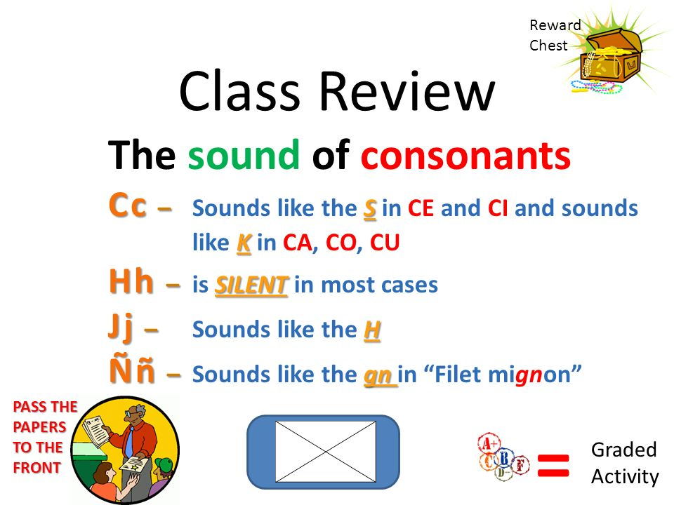Class Review The sound of consonants Cc – S K Cc – Sounds like the S in CE and CI and sounds like K in CA, CO, CU Hh – SILENT Hh – is SILENT in most cases Jj – H Jj – Sounds like the H Ññ – gn Ññ – Sounds like the gn in Filet mignon Reward Chest = Graded Activity PASS THE PAPERS TO THE FRONT