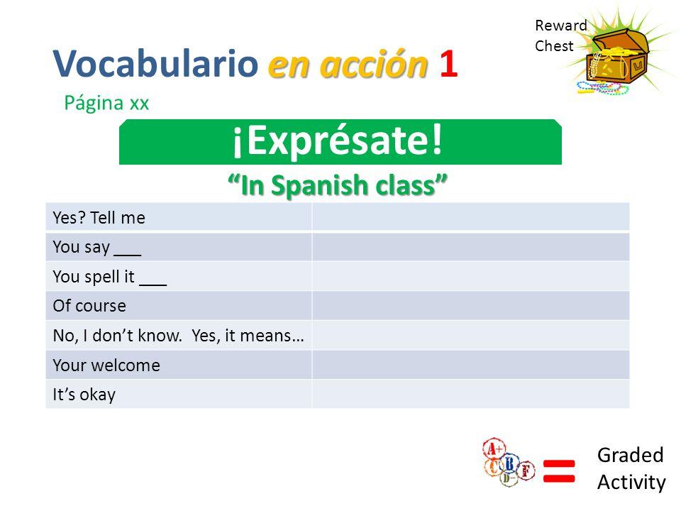 Reward Chest ¡Exprésate! In Spanish class = Graded Activity en acción Vocabulario en acción 1 Página xx Yes? Tell me You say ___ You spell it ___ Of c