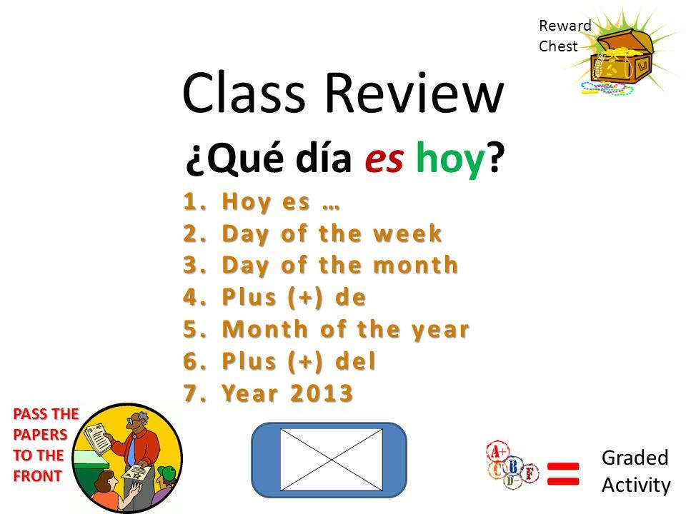 Class Review ¿Qué día es hoy? 1.Hoy es … 2.Day of the week 3.Day of the month 4.Plus (+) de 5.Month of the year 6.Plus (+) del 7.Year 2013 Reward Ches