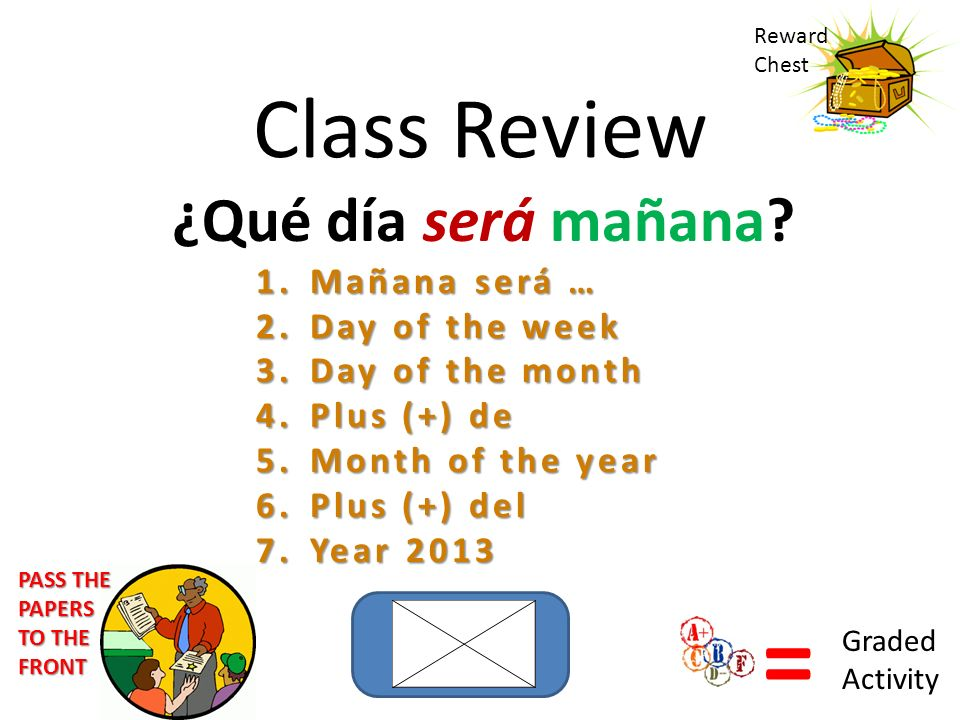 Class Review ¿Qué día será mañana? 1.Mañana será … 2.Day of the week 3.Day of the month 4.Plus (+) de 5.Month of the year 6.Plus (+) del 7.Year 2013 R