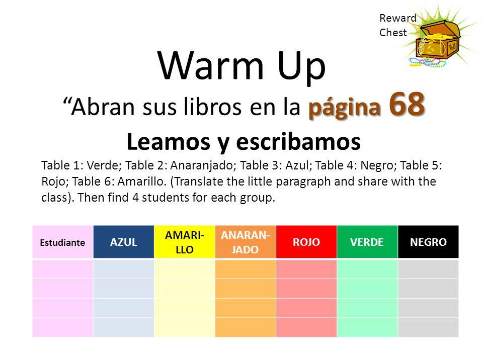Warm Up página 68 Abran sus libros en la página 68 Leamos y escribamos Table 1: Verde; Table 2: Anaranjado; Table 3: Azul; Table 4: Negro; Table 5: Ro