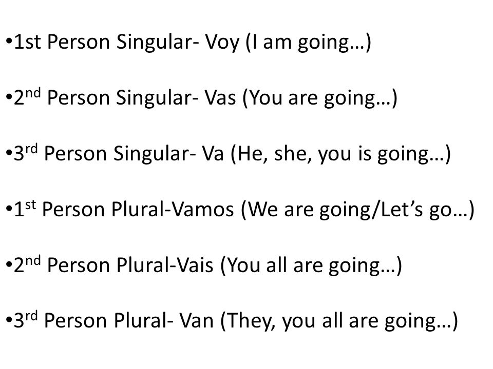 1st Person Singular- Voy (I am going…) 2 nd Person Singular- Vas (You are going…) 3 rd Person Singular- Va (He, she, you is going…) 1 st Person Plural-Vamos (We are going/Lets go…) 2 nd Person Plural-Vais (You all are going…) 3 rd Person Plural- Van (They, you all are going…)