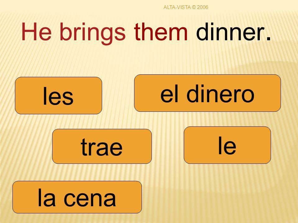 He brings them dinner. trae le les la cena el dinero ALTA-VISTA © 2006