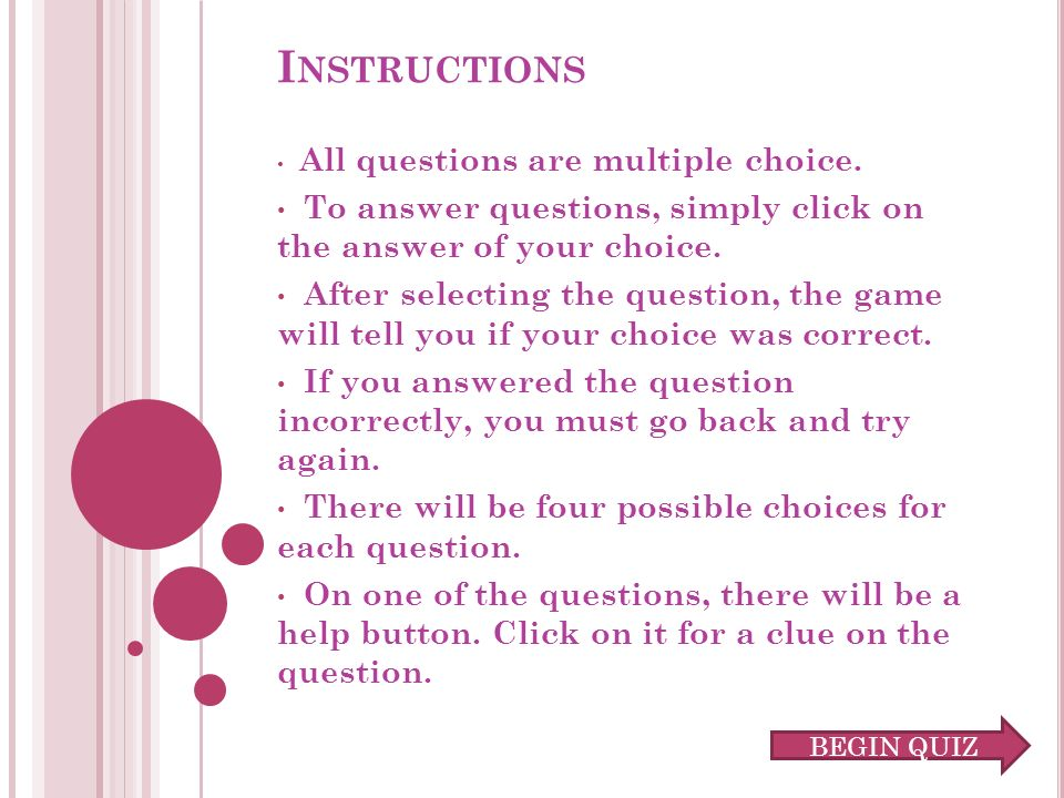 I NSTRUCTIONS All questions are multiple choice.