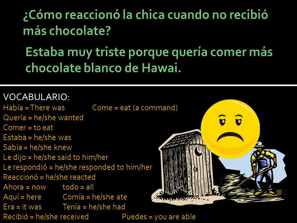 VOCABULARIO: Había = There wasCome = eat (a command) Quería = he/she wanted Comer = to eat Estaba = he/she was Sabía = he/she knew Le dijo = he/she sa