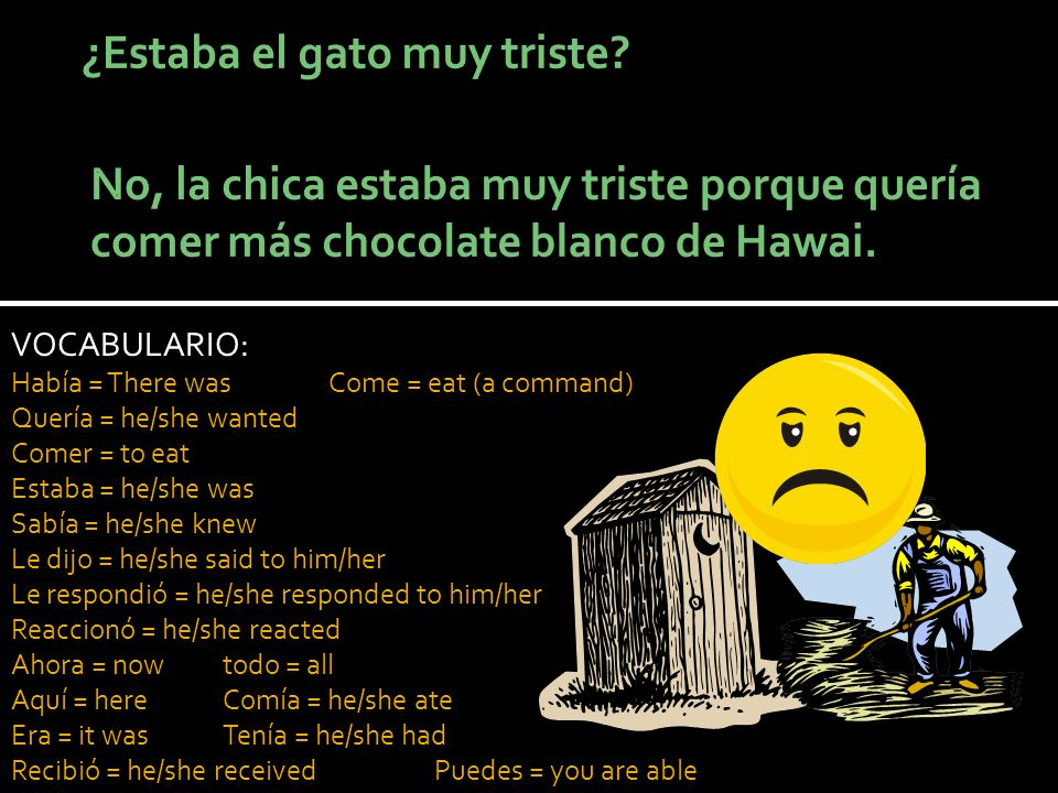 VOCABULARIO: Había = There wasCome = eat (a command) Quería = he/she wanted Comer = to eat Estaba = he/she was Sabía = he/she knew Le dijo = he/she said to him/her Le respondió = he/she responded to him/her Reaccionó = he/she reacted Ahora = nowtodo = all Aquí = hereComía = he/she ate Era = it wasTenía = he/she had Recibió = he/she receivedPuedes = you are able