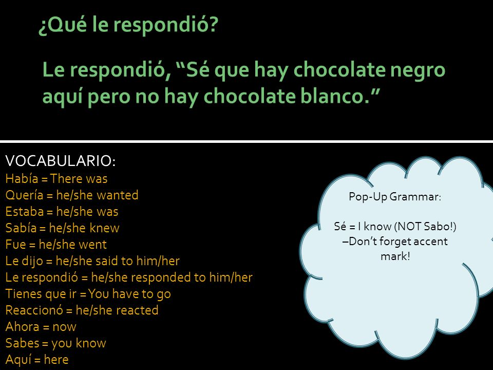 VOCABULARIO: Había = There was Quería = he/she wanted Estaba = he/she was Sabía = he/she knew Fue = he/she went Le dijo = he/she said to him/her Le respondió = he/she responded to him/her Tienes que ir = You have to go Reaccionó = he/she reacted Ahora = now Sabes = you know Aquí = here Pop-Up Grammar: Sé = I know (NOT Sabo!) –Dont forget accent mark!