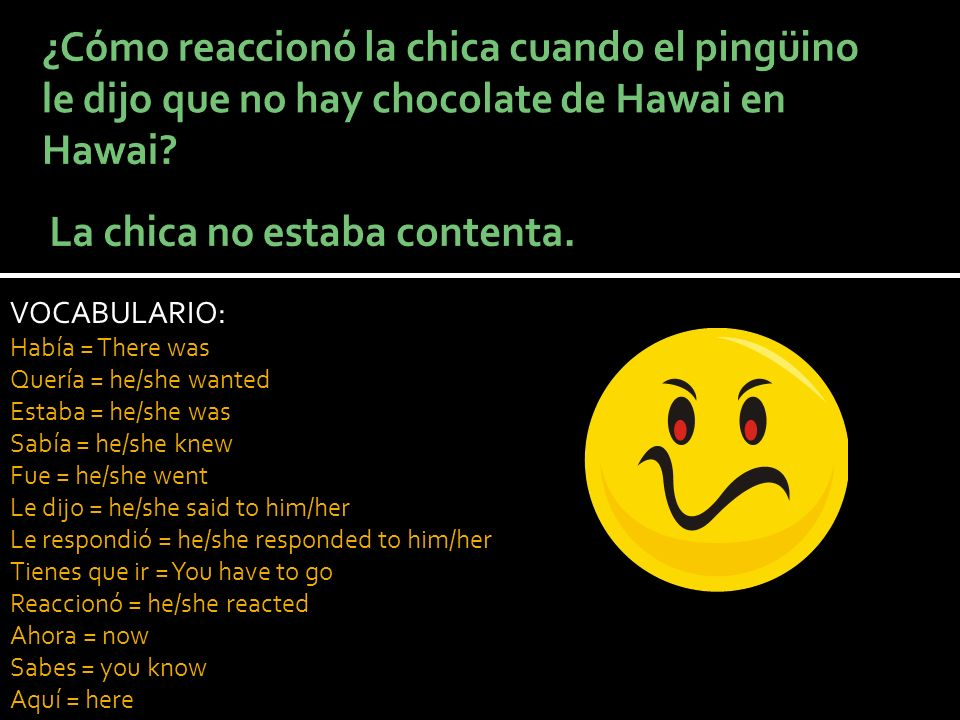 VOCABULARIO: Había = There was Quería = he/she wanted Estaba = he/she was Sabía = he/she knew Fue = he/she went Le dijo = he/she said to him/her Le re