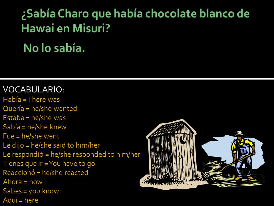 VOCABULARIO: Había = There was Quería = he/she wanted Estaba = he/she was Sabía = he/she knew Fue = he/she went Le dijo = he/she said to him/her Le respondió = he/she responded to him/her Tienes que ir = You have to go Reaccionó = he/she reacted Ahora = now Sabes = you know Aquí = here
