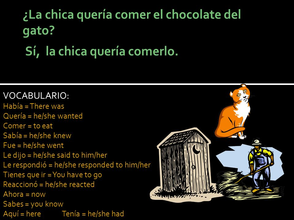 VOCABULARIO: Había = There was Quería = he/she wanted Comer = to eat Sabía = he/she knew Fue = he/she went Le dijo = he/she said to him/her Le respondió = he/she responded to him/her Tienes que ir = You have to go Reaccionó = he/she reacted Ahora = now Sabes = you know Aquí = hereTenía = he/she had
