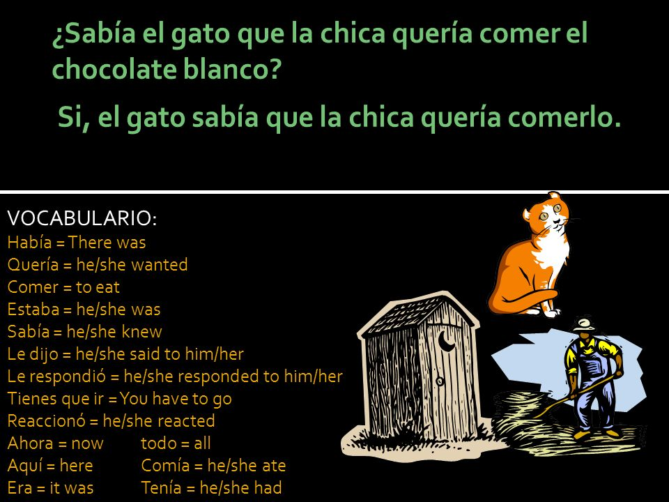 VOCABULARIO: Había = There was Quería = he/she wanted Comer = to eat Estaba = he/she was Sabía = he/she knew Le dijo = he/she said to him/her Le respondió = he/she responded to him/her Tienes que ir = You have to go Reaccionó = he/she reacted Ahora = nowtodo = all Aquí = hereComía = he/she ate Era = it wasTenía = he/she had
