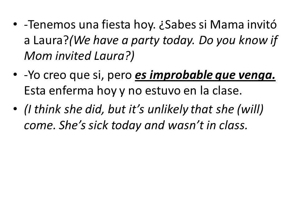 -Tenemos una fiesta hoy. ¿Sabes si Mama invitó a Laura (We have a party today.
