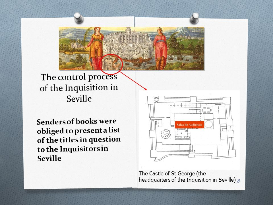 The control process of the Inquisition in Seville Senders of books were obliged to present a list of the titles in question to the Inquisitors in Seville The Castle of St George (the headquarters of the Inquisition in Seville) 8