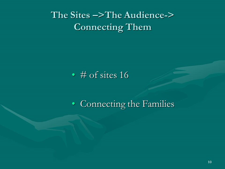 10 The Sites –>The Audience-> Connecting Them # of sites 16# of sites 16 Connecting the FamiliesConnecting the Families