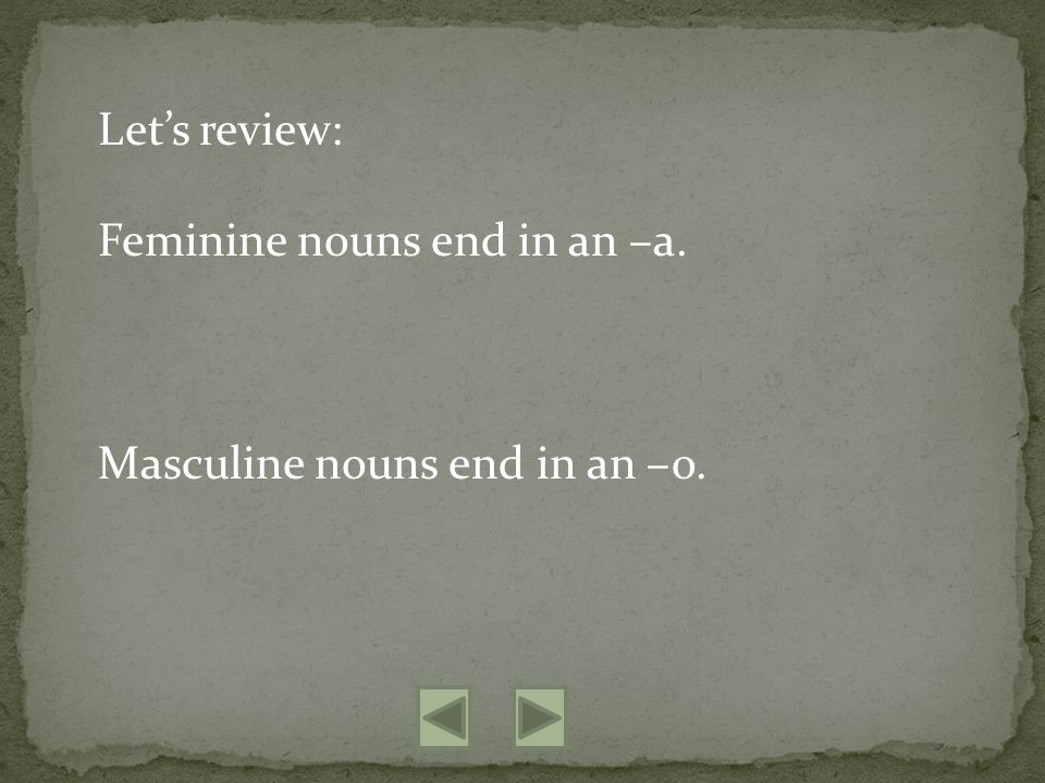 Lets review: Feminine nouns end in an –a. Masculine nouns end in an –o.