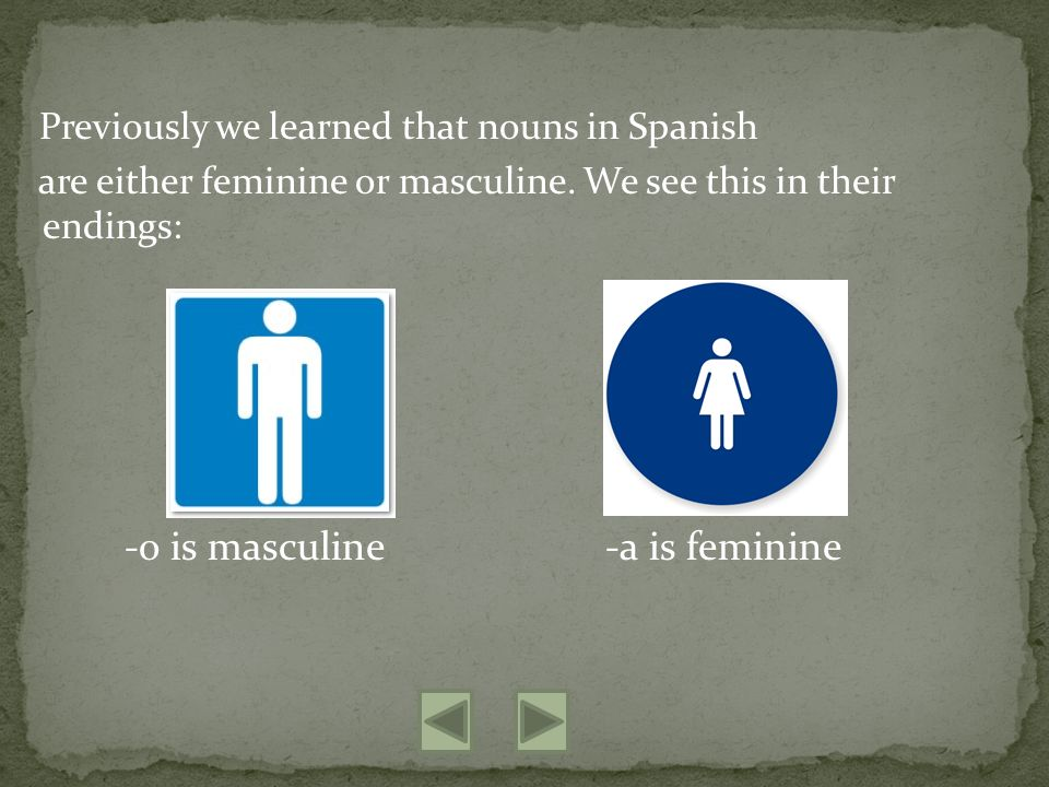 Previously we learned that nouns in Spanish are either feminine or masculine.